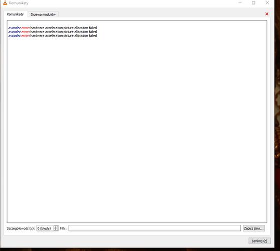 Blad VLC komunikat